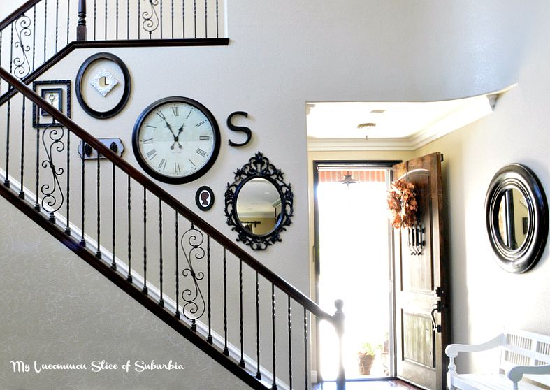Rustic and elegant foyer and stairwell