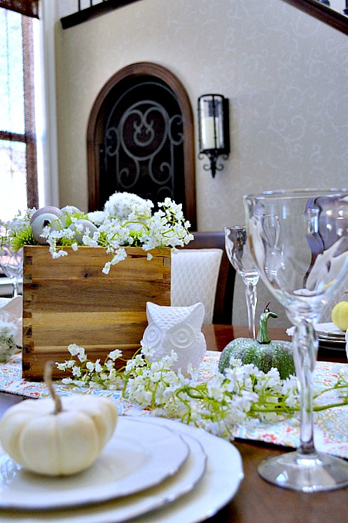 Thanksgiving Tablescape using faux flowers, white pumpkins and owls