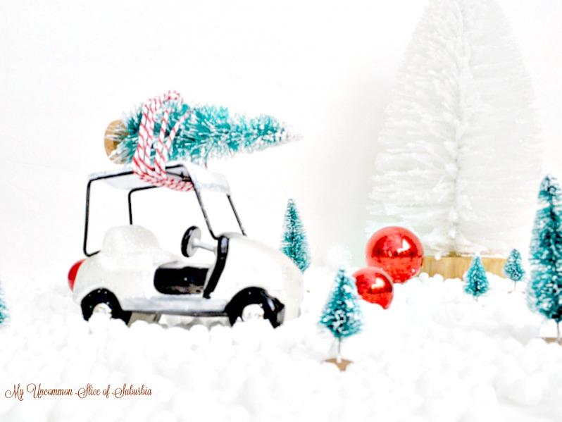 Christmas tree on a golf cart