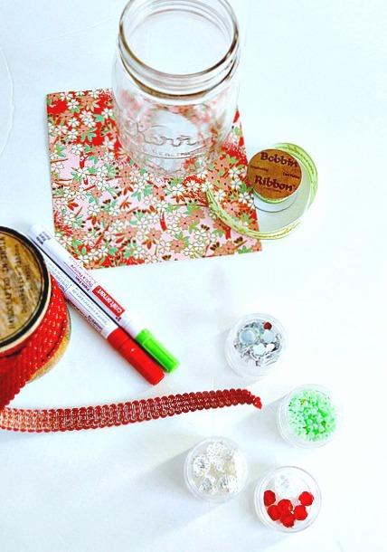 Supplies to make a mason jar craft gift