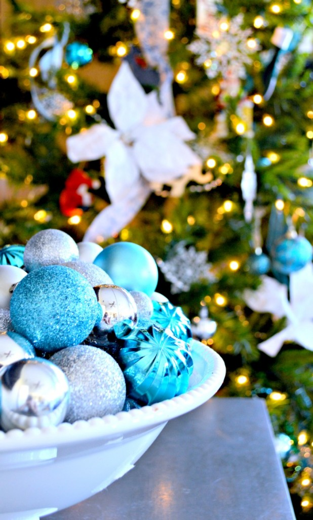 A bowl of dollar store ornaments a inexpensive way to decorate