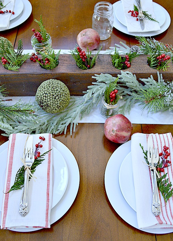 Rustic Table for Christmas Dinner