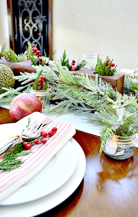 Rustic Table setting set for Christmas