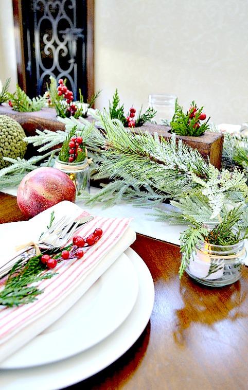 Rustic Table setting set for Christmas