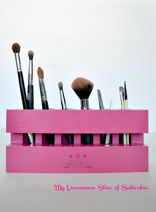 Turn a spice rack into a make up brush holder