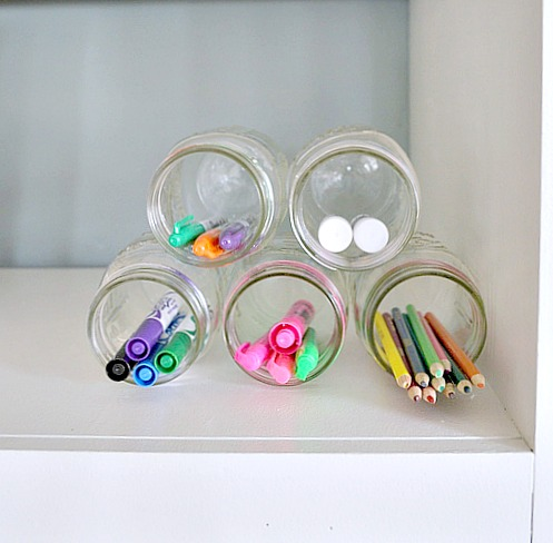 Use Mason jars to organize pens and pencils
