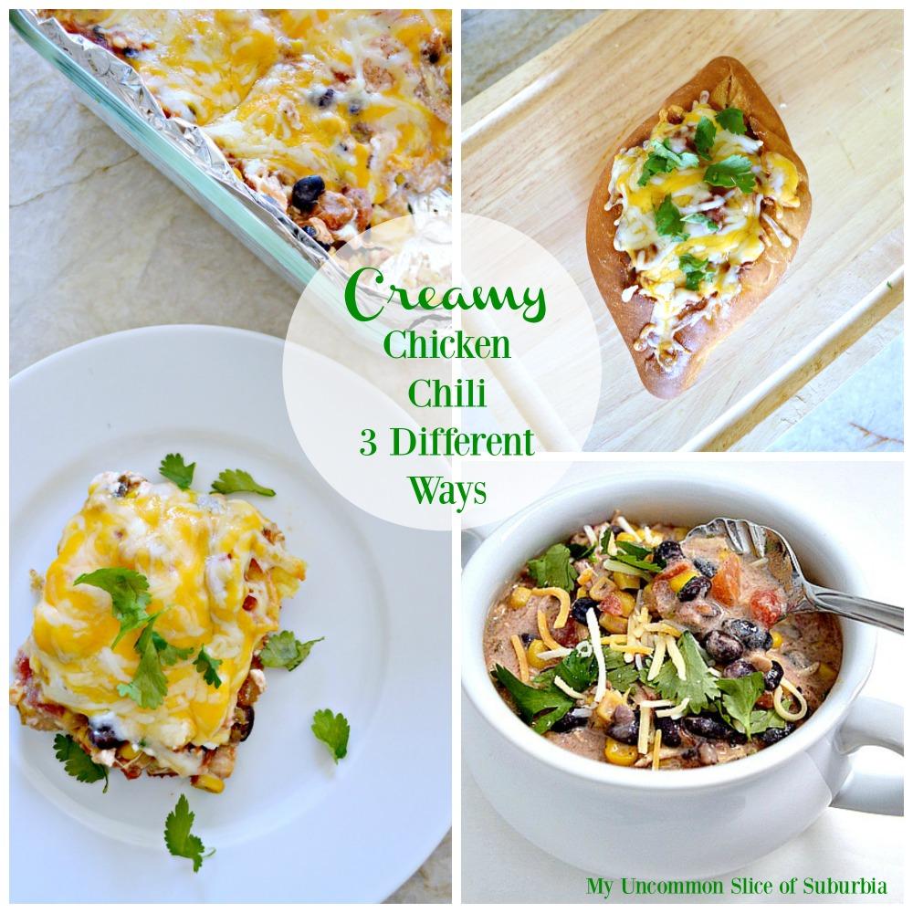 Creamy Chicken Chili 3 different ways