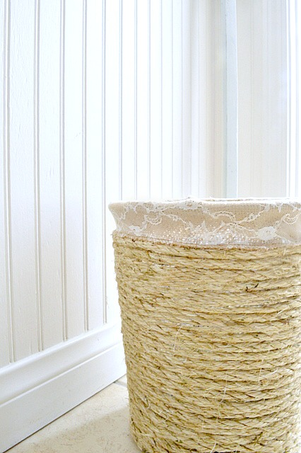 How to make a sisal trashcan out of a wire basket