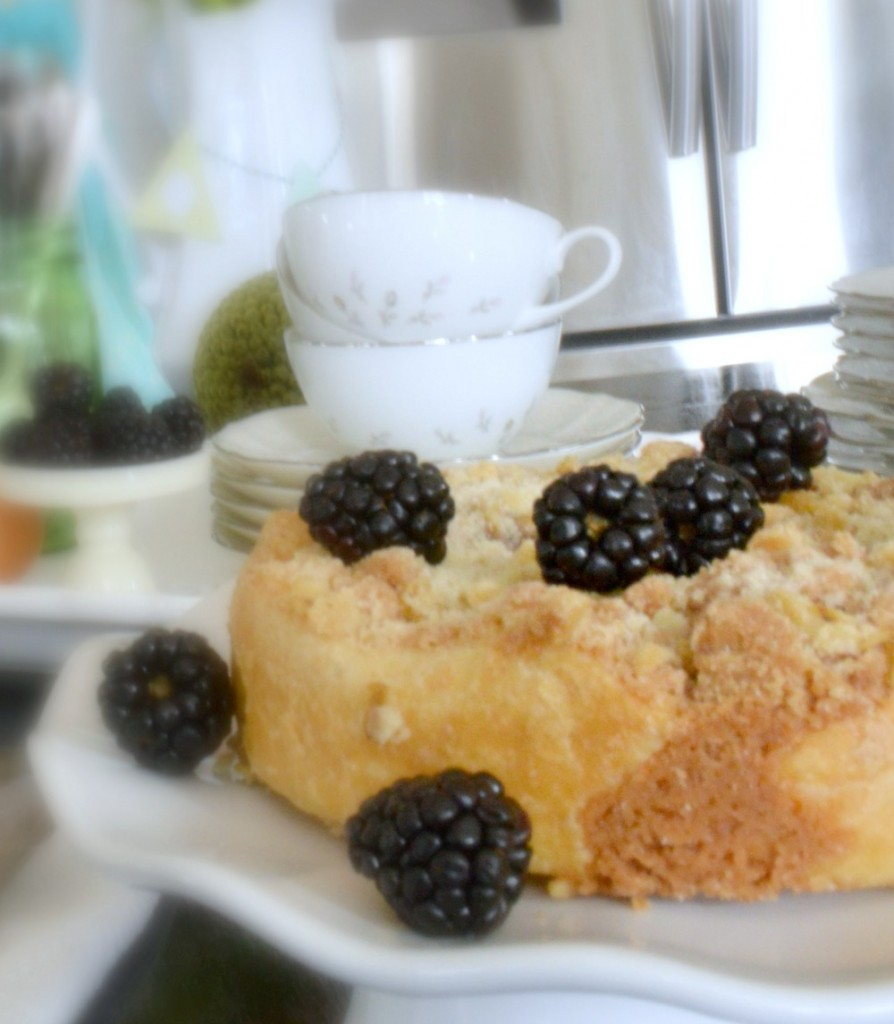 Easter brunch buffet with a delicious blackberry tart