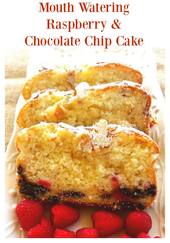 The most delicious raspberry and chocolate chip cake recipe, oh so good!