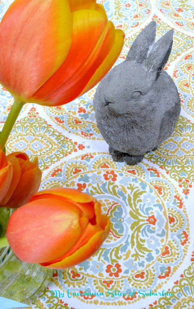 Vibrant tulips with the cutest bunny