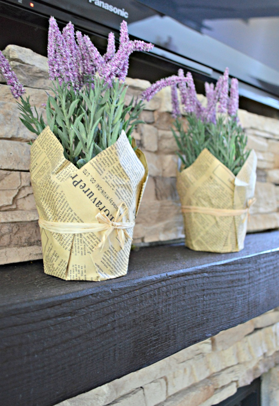 Decorate the mantel with lavender