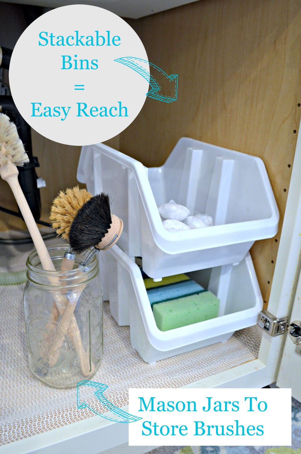 Great tips on organizing everything under the kitchen sink