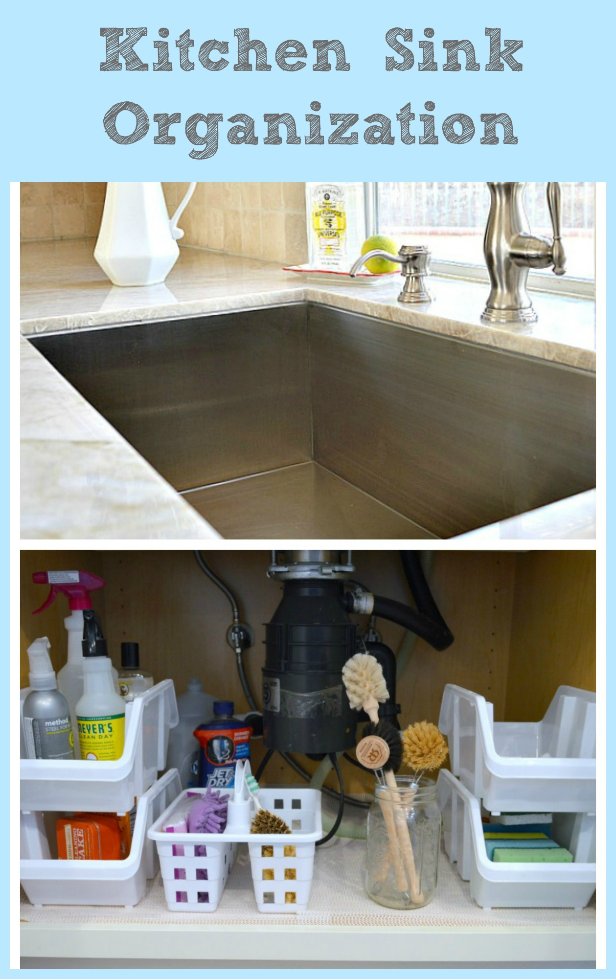 How to organize your sink using dollar store supplies