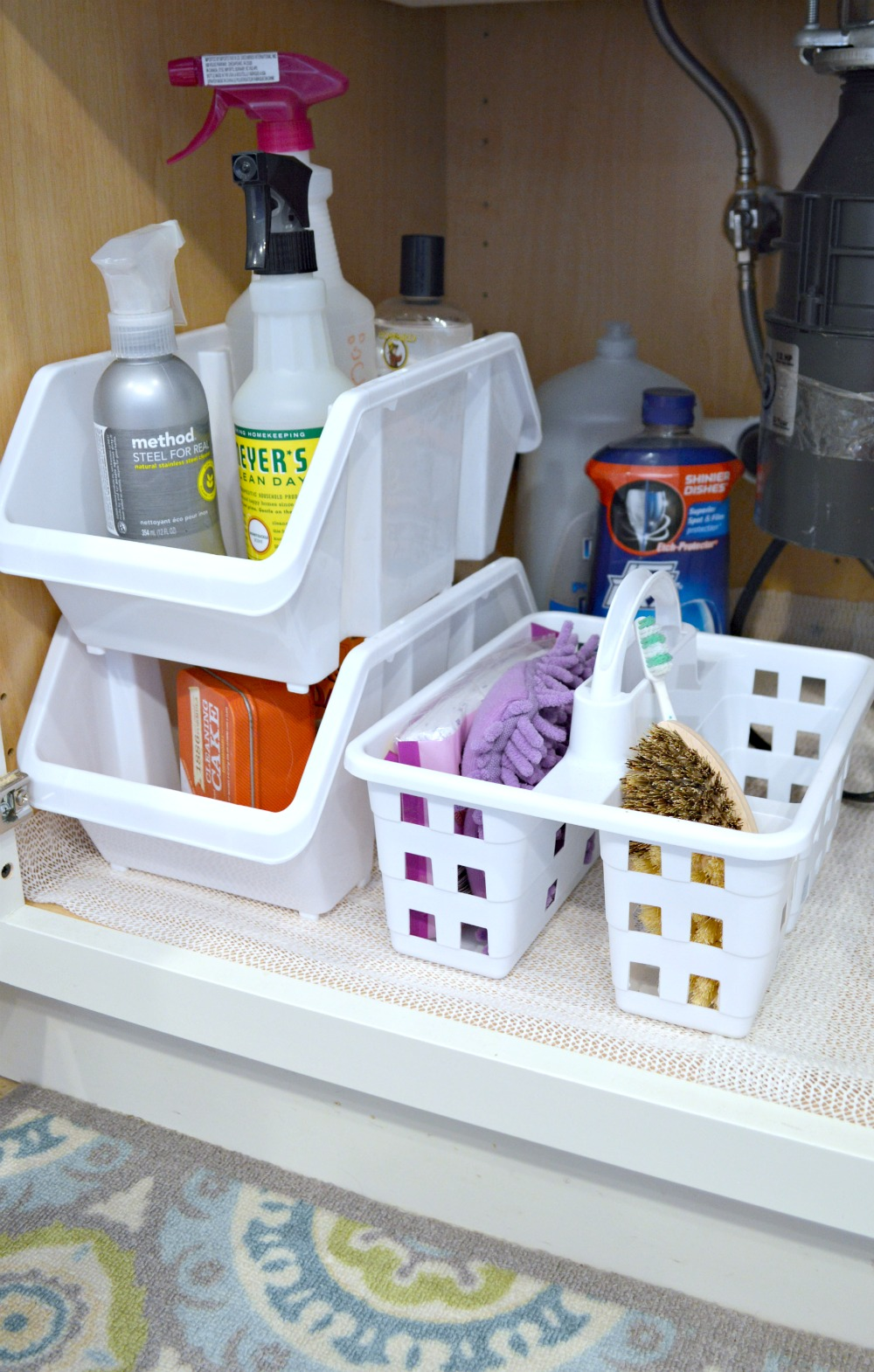 Organizing under the sink with dollar store finds