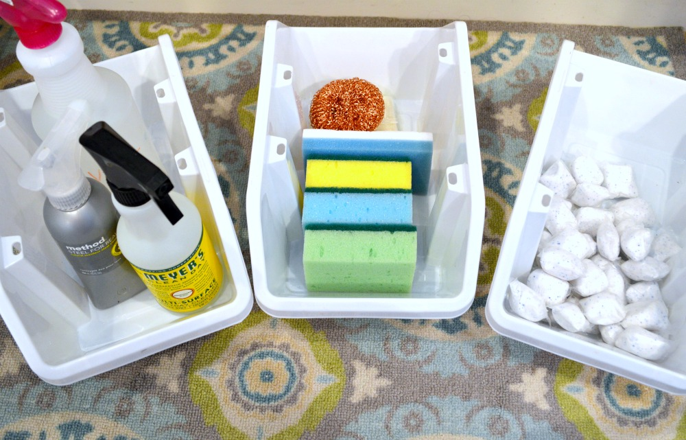 inexpensive way to organize under the kitchen sink