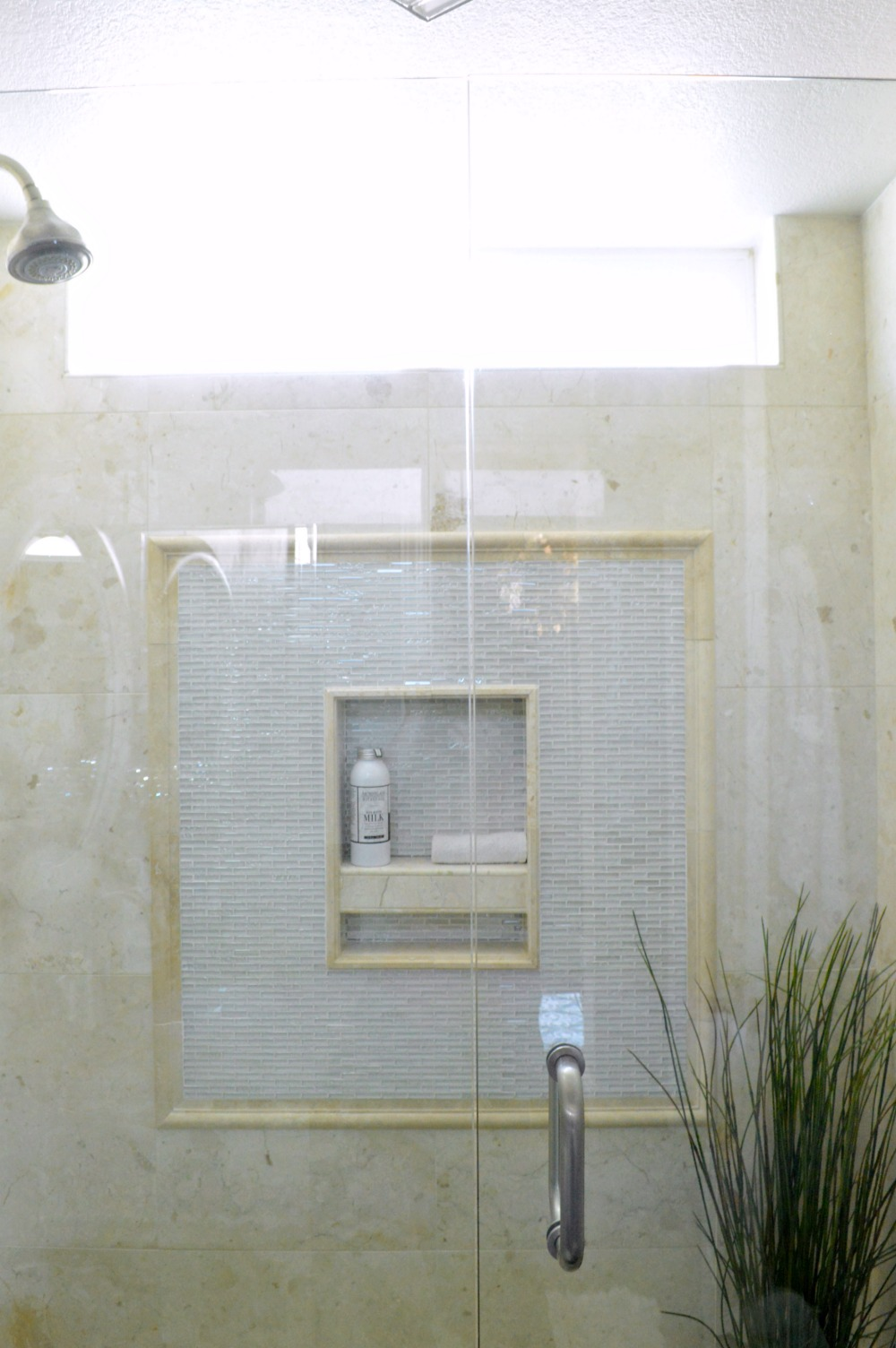 Marble and Glass walk in shower