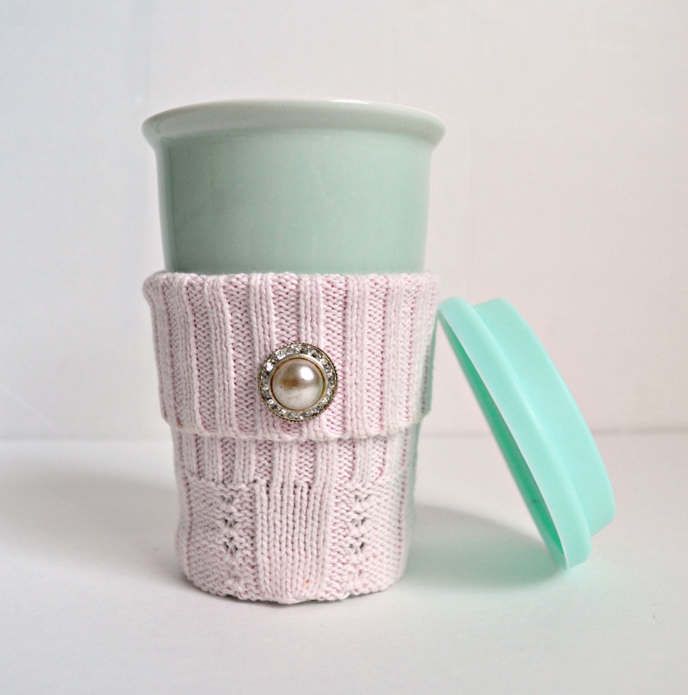 Upcycle those sweaters from the thrift store and make a DIY cozy coffee sleeve