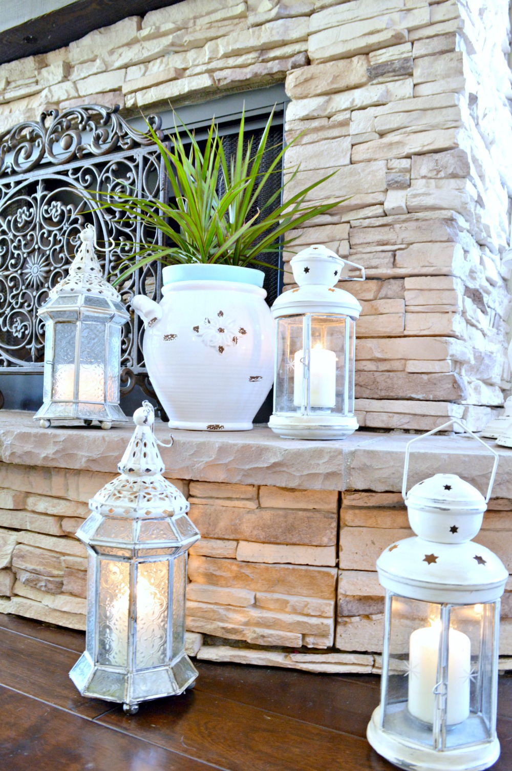 DIY painted and distressed lanterns
