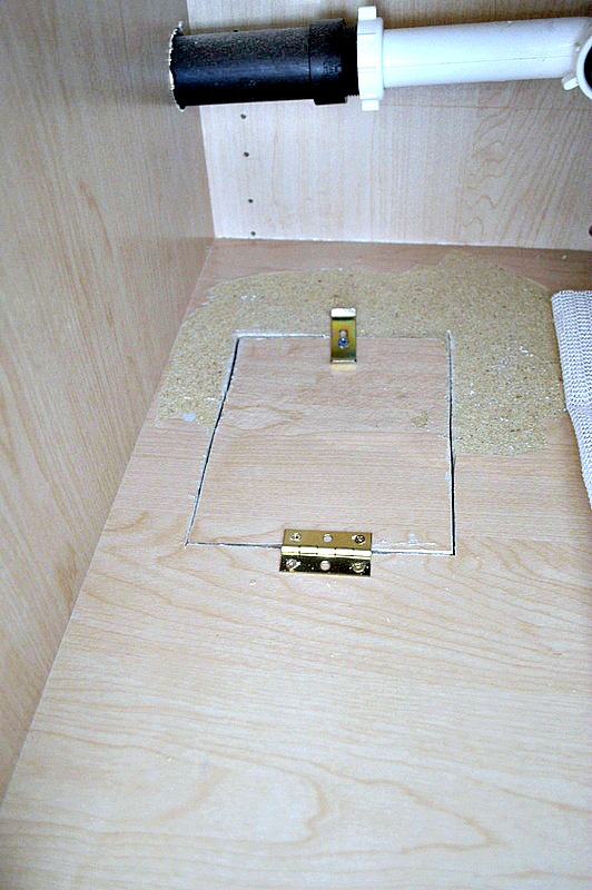 Make a small trap door inside the kitchen cabinet to see if you have any water leaking at any time