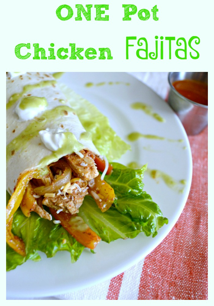 The easiest chicken fajitas ever, all in one dish!