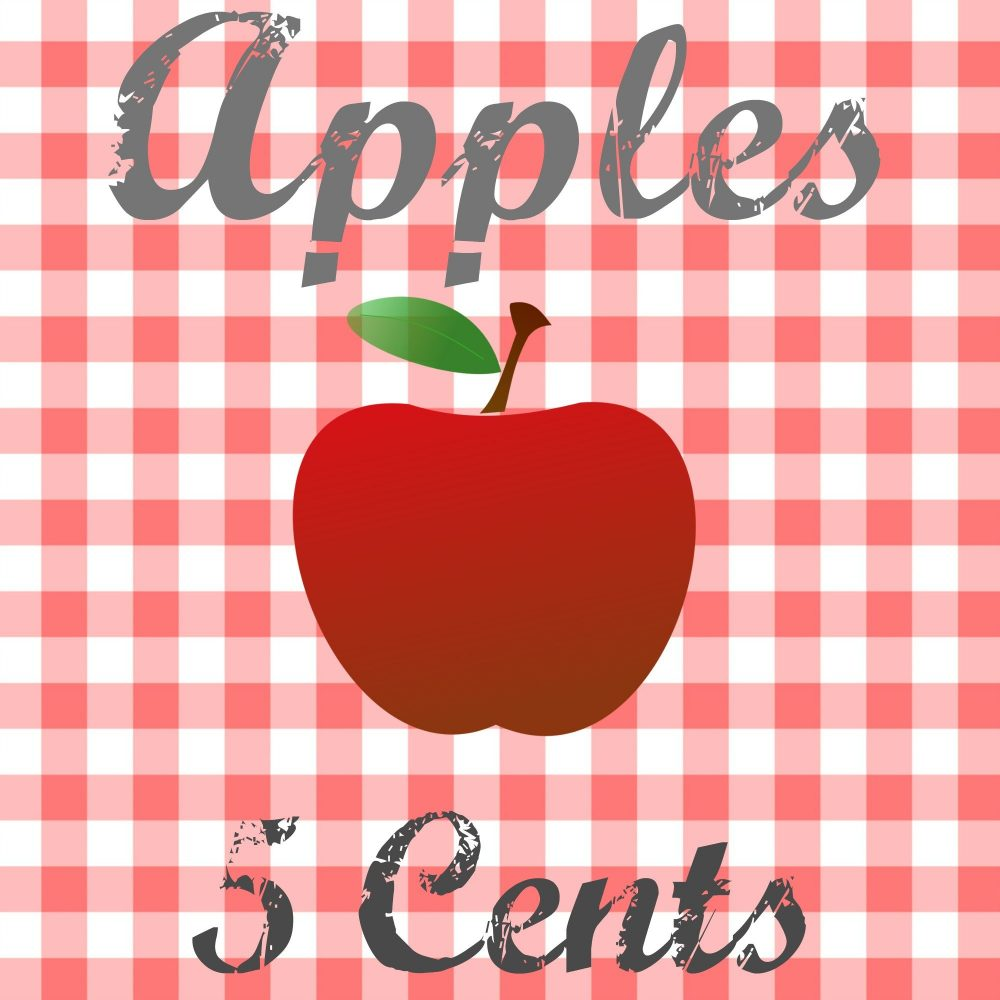 Free printable for apples 5 cents graphic