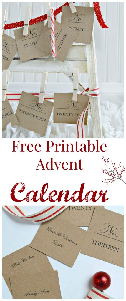 Free printable advent calendar. What a fun activity to do with the kids. Every morning they pick a card and see what activity they will be doing for the day! You can make it super simple like reading a book or a little more complicated .