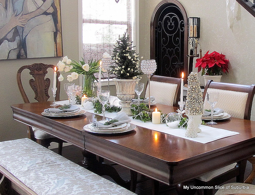 DIY Christmas Decor Ideas -tablescape-with-green-silver-and-white