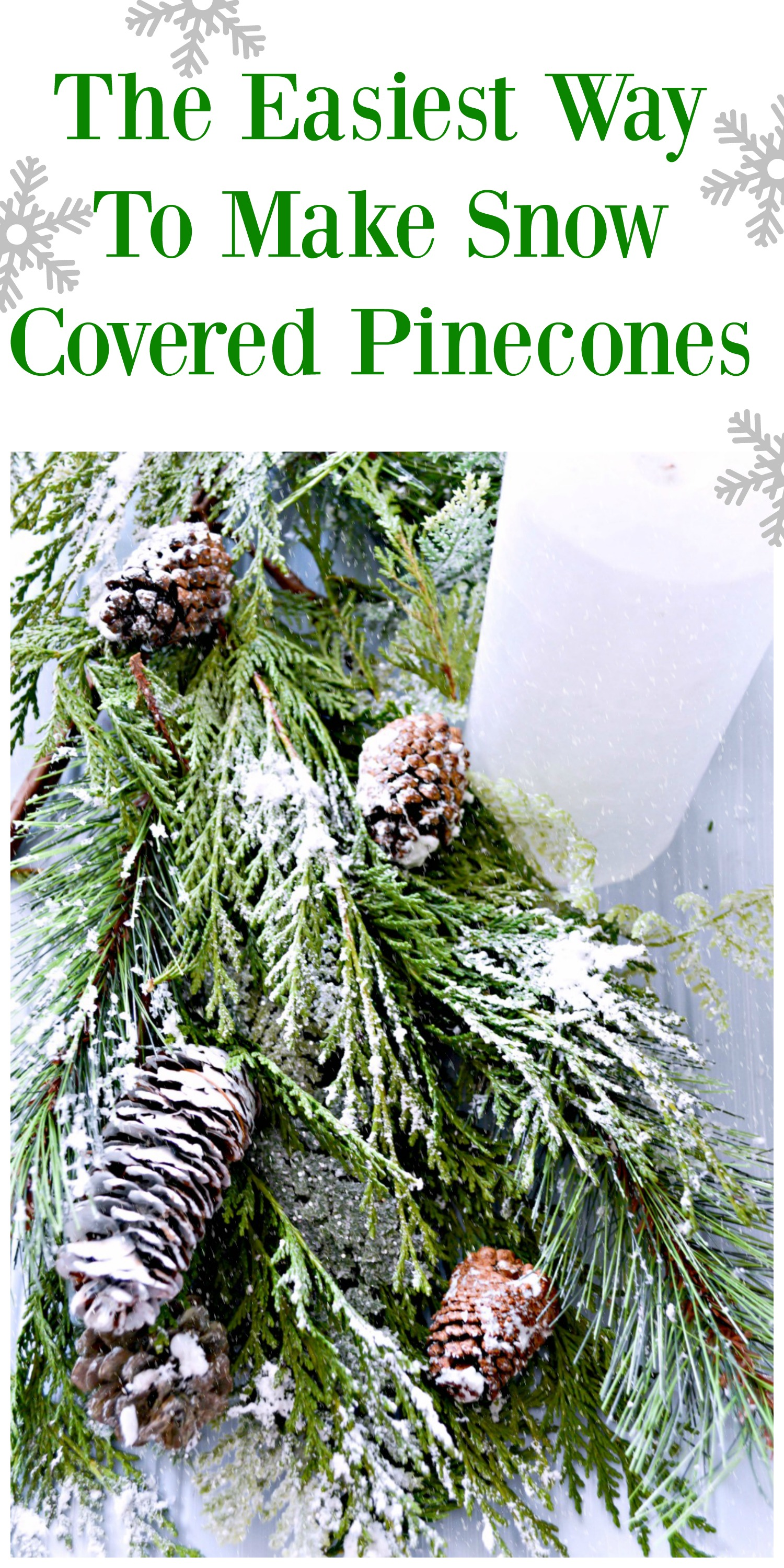 such-a-simple-trick-to-make-snow-covered-greenery-and-pinecones
