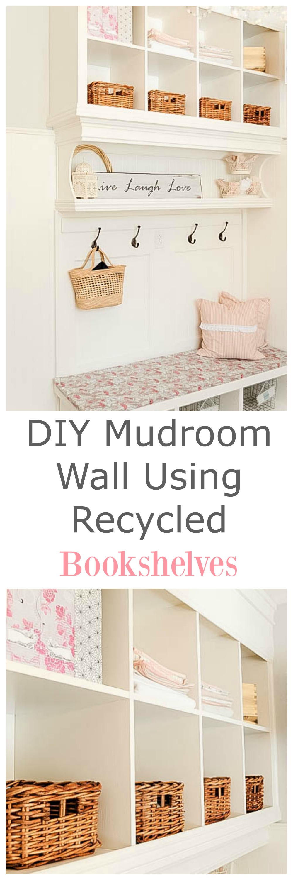 Learn how to make a organized mudroom wall using 2 used bookshelves from Ikea