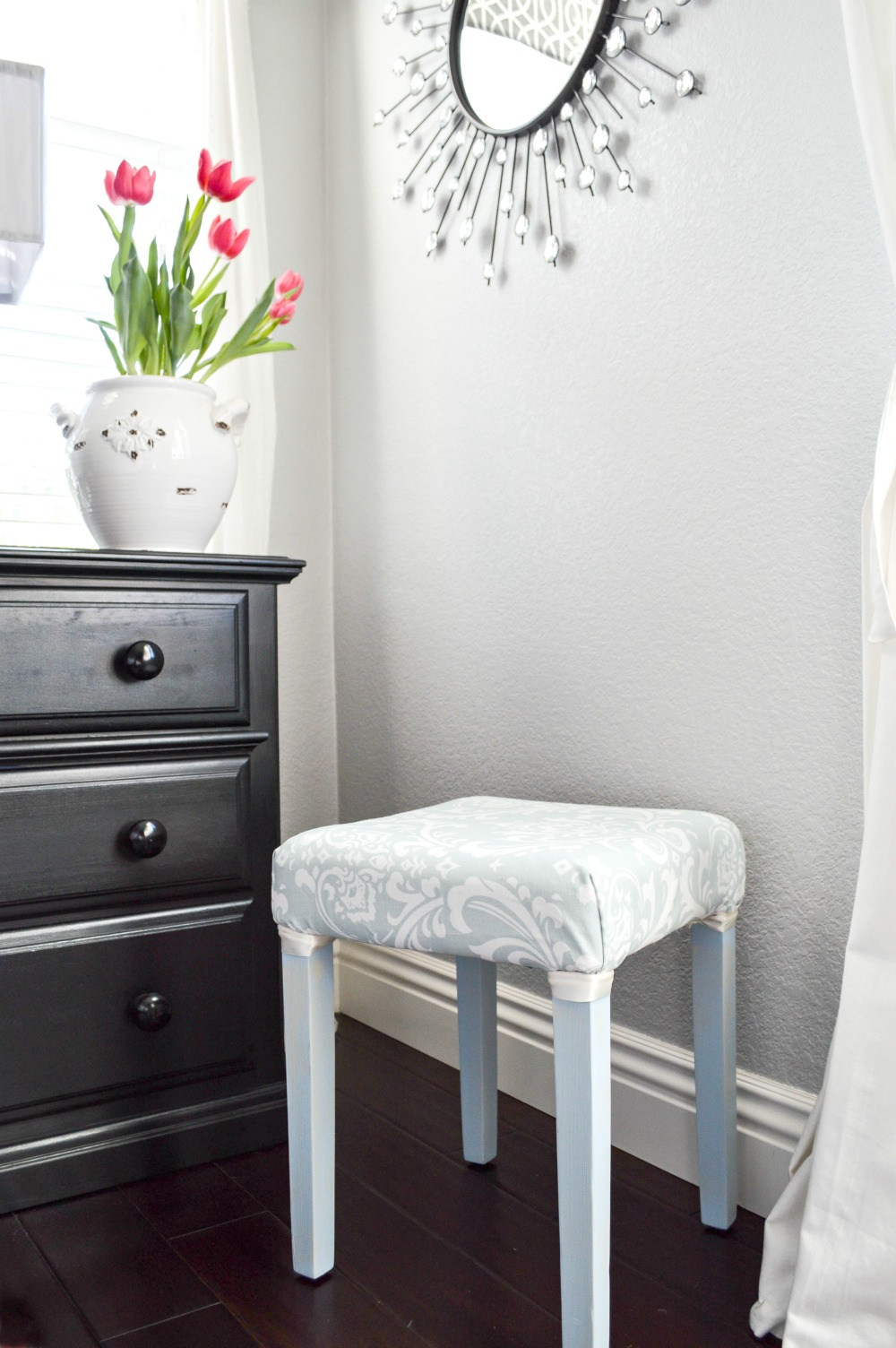 Painted And Upholstered Stool Makeover, How to makeover a stool, step by step directions with pictures!