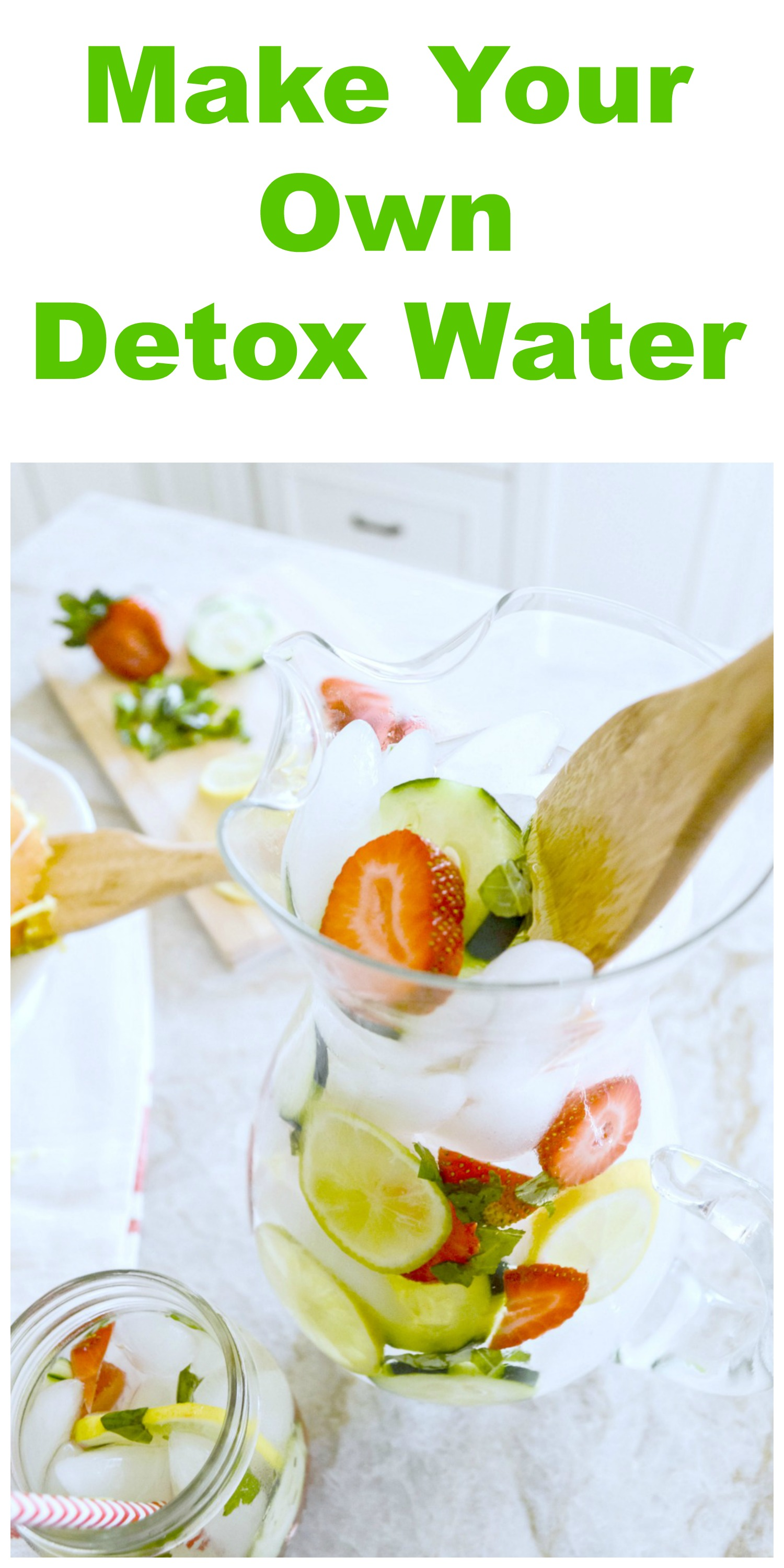 Ice Water (24 ounces) 3 Basil leaves chopped 1 strawberry sliced 3 slices of cucumber 3 slices of lemon