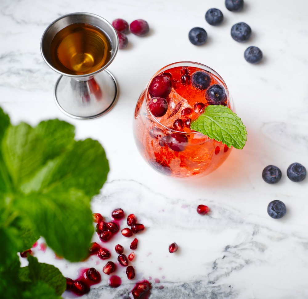 Pomegranate Blueberry Wine Cocktail