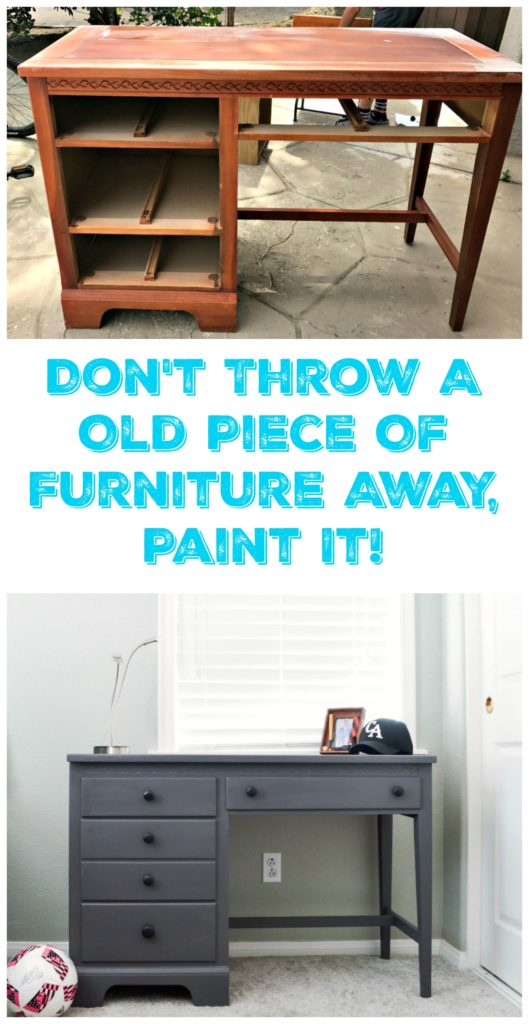 Painted Desk Makeover. This was a curbside find and with a little sanding and a coat of paint we were able to completely transform this piece!