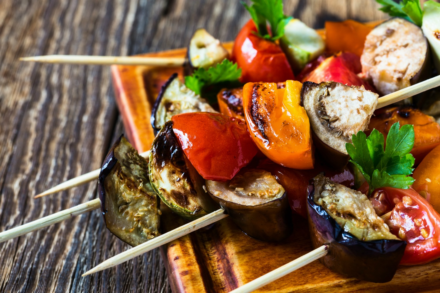 Delicious Grilled Vegetable Skewers perfect for a back yard BBQ