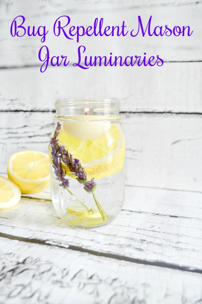 Learn how to make Bug Repellent Mason Jar Luminaries using herbs from the garden and essential oils