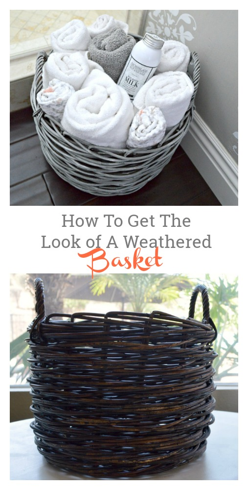 great tutorial on turning a dark basket into a weathered basket
