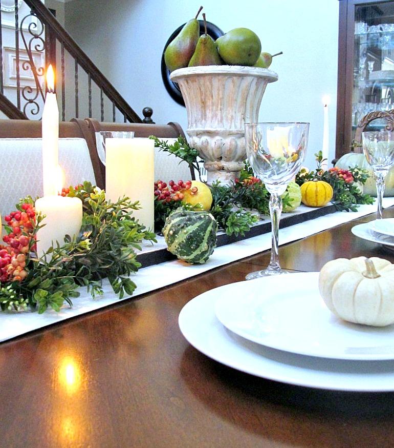 mini pumpkins displayed on plates