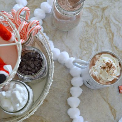 Fun hot cocoa bar set up using a tiered tray