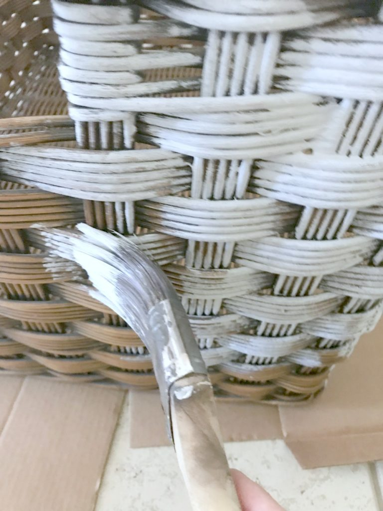 How to give a basket a farmhouse look using paint and wax. Great tutorial