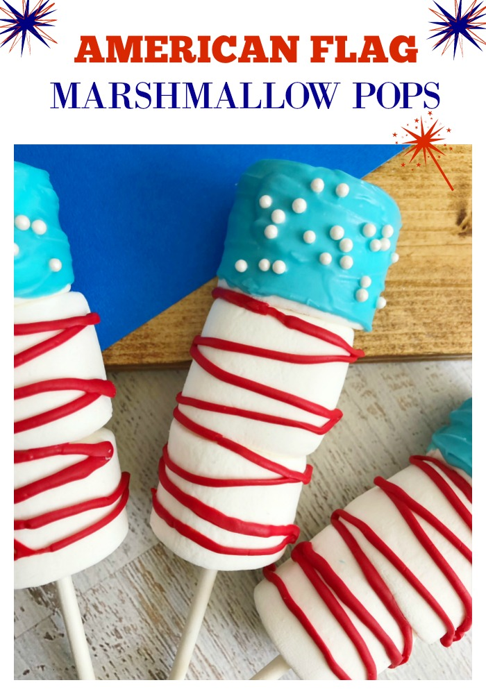 Invite friends and family to celebrate Independence Day and serve them these delicious american flag marshmallow pops! The kids will love them and they are so easy to make!
