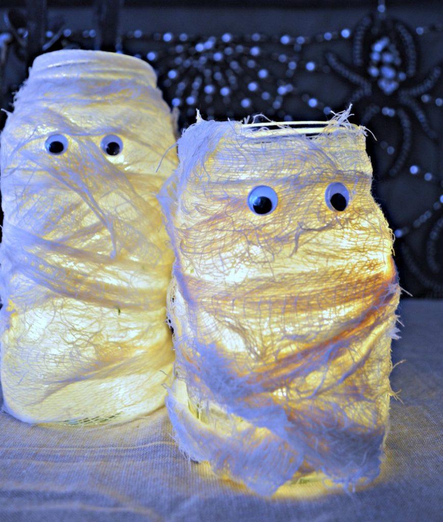 mummy luminaries using cheese cloth