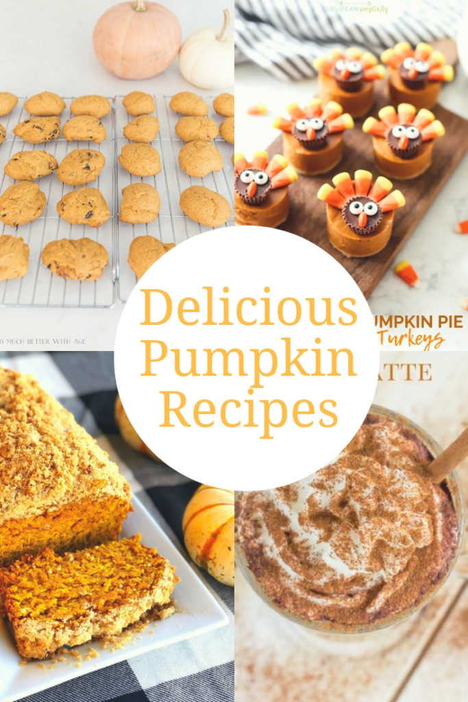 Delicious Pumpkin Recipes you'll want to try this fall!  Pumpkin cookies, pumpkin bread, pumpkin lattes and more!