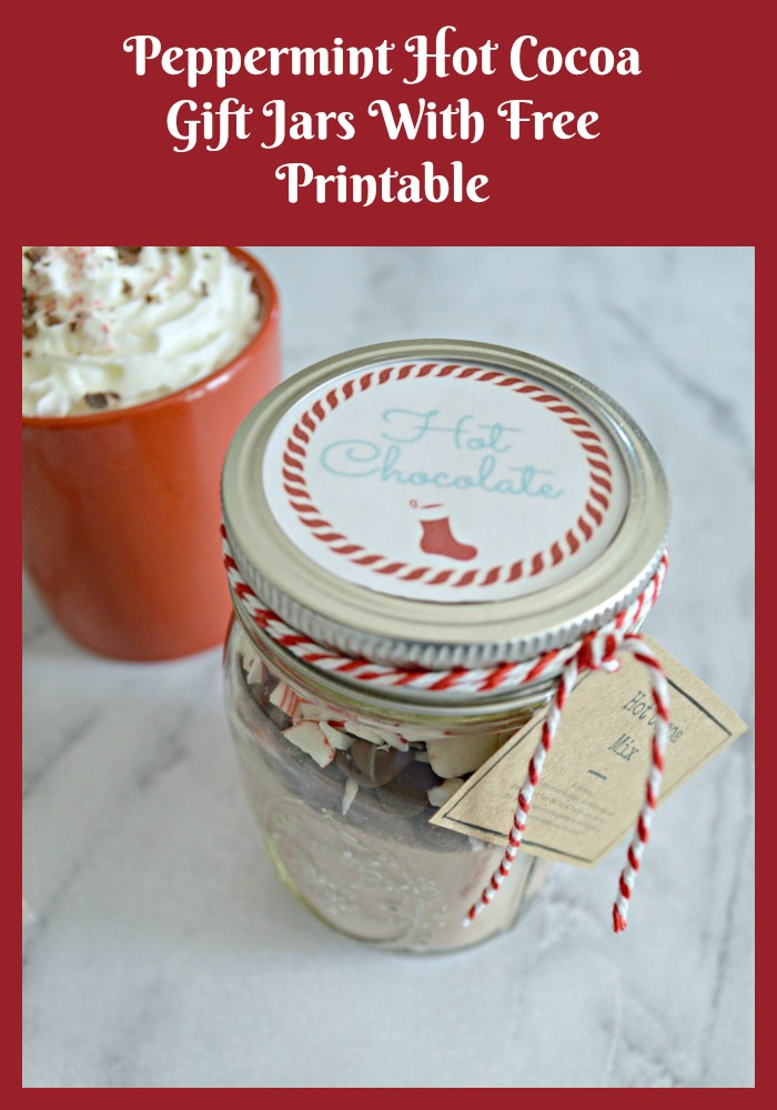 Peppermint Hot Cocoa Gift Jars With Free Printable