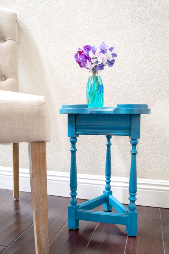 Accent Table transformed using americana decor chalky paint in the color legacy