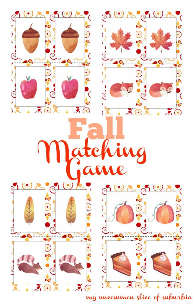 Autumn Matching Game For Kids!The kids are going to LOVE this free printable Autumn matching game! Matching games are great for developing concentration, memory,observing details, social skills and improves the child's ability to notice similarities and differences!