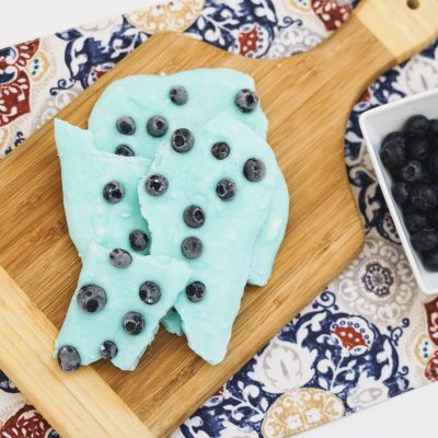 this Make Ahead Blueberry Greek Yogurt Bark is a 2-ingredient treat you can take with you or munch on when you need a quick snack! Full of protein and probiotics!