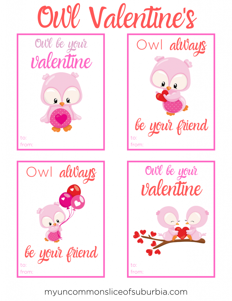 Download our free Owl Printable Valentine's Day Cards for kids, four designs to choose from with cute sayings.